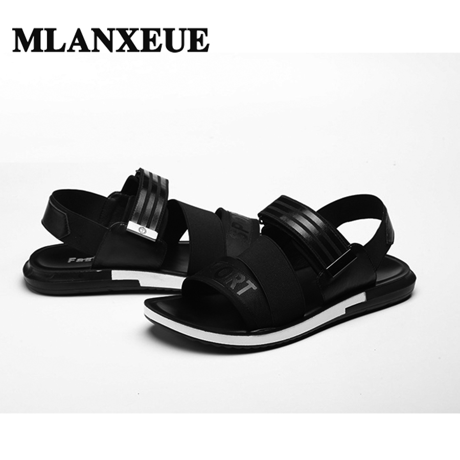 Summer Leisure Genuine Leather Men sandals Fashion Young Boy Sandals England Thick Bottom Movement Personality Open 2018