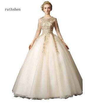 972176e7b08 Ruthshen Винтаж Vestidos De Debutantes 15 Anos легкий кремовый цвет Пышное  Бальное Платье 3 4 рукава вечерние бальные платья