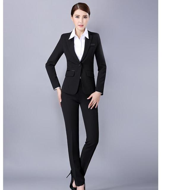 91b651a64a4a4 Pants suit style woman suit long sleeve formal occasion ladies suit  interview black color high quality woman suit jacket+pants