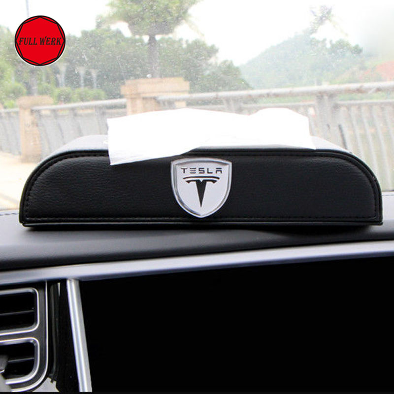 Leather Car Tissue Box Cover Napkin Paper Storage Box Case Holder for Tesla Model X Model S 75D 85D P90D Auto Accessories цена
