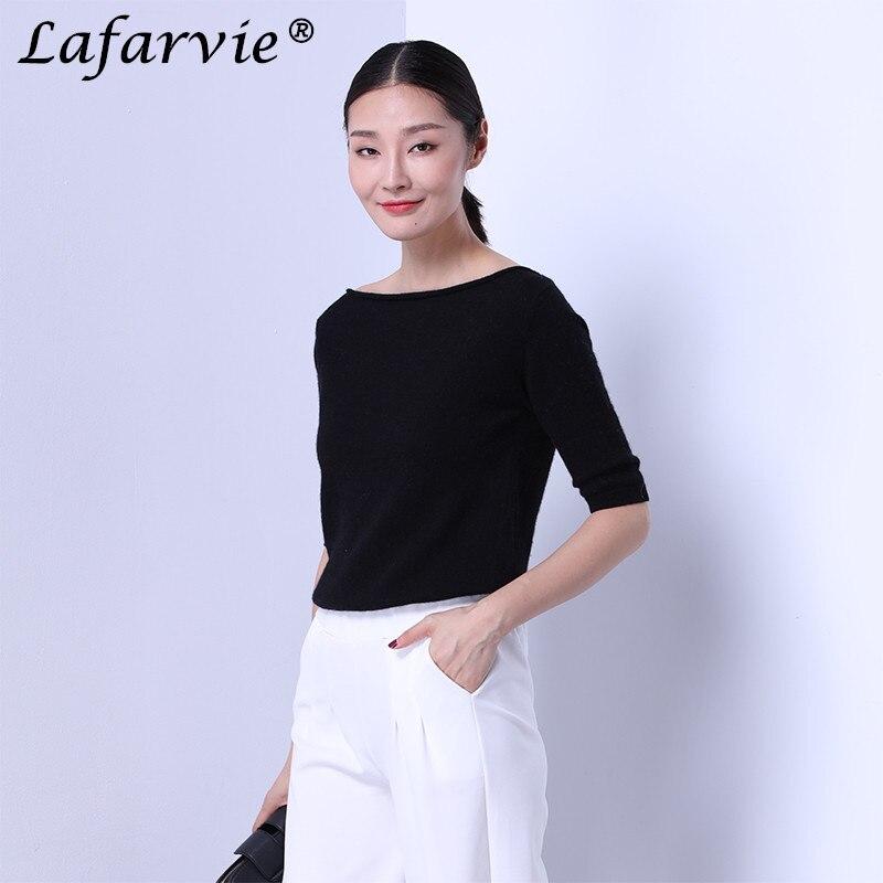 Lafarvie kwaliteit slanke sexy kasjmier gebreide trui vrouwen tops - Dameskleding - Foto 4