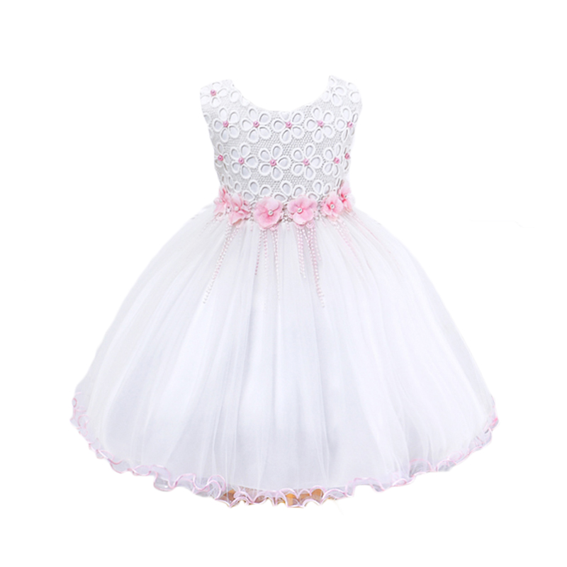 Girls Princess Dress Ball Gown Kids Dresses Sleeveless Lace Mesh Flower Children Evening Dress New Summer White Girl Clothing 2016 spring winter children baby kids girls stripe princess lace mesh dress girls fall sleeveless dresses kids dresses for girls