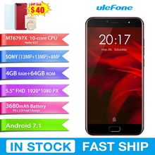 "4G D'origine Smartphone Ulefone Gemini Pro 4 GB + 64 GB Double Caméra Arrière 5.5 ""Android 7.1.1 MTK6797 Deca Core 2.6 Ghz 1920 pixels"