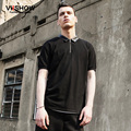 Viishow Brand Clothing Polo Shirt Men Black Leather Turn Down Collor Polo Shirt Summer Polo Men's Suits  PD52362