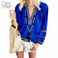 2019 neue Mode Sping Weiblichen Bestickte Maxican Bluse Tops Herbst Frau V-ausschnitt Mit Langen Ärmeln Lose Pullover Hemd Blusa Mujer