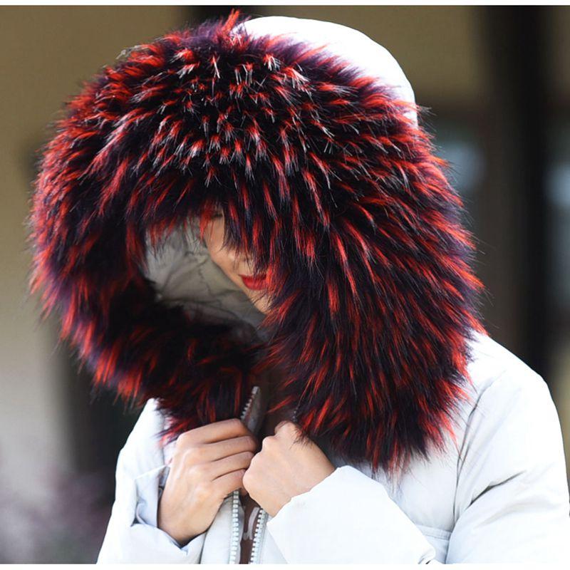 ne Winter women Big faux fur collars winter fake hood collar big raccoon scaves Colorblock