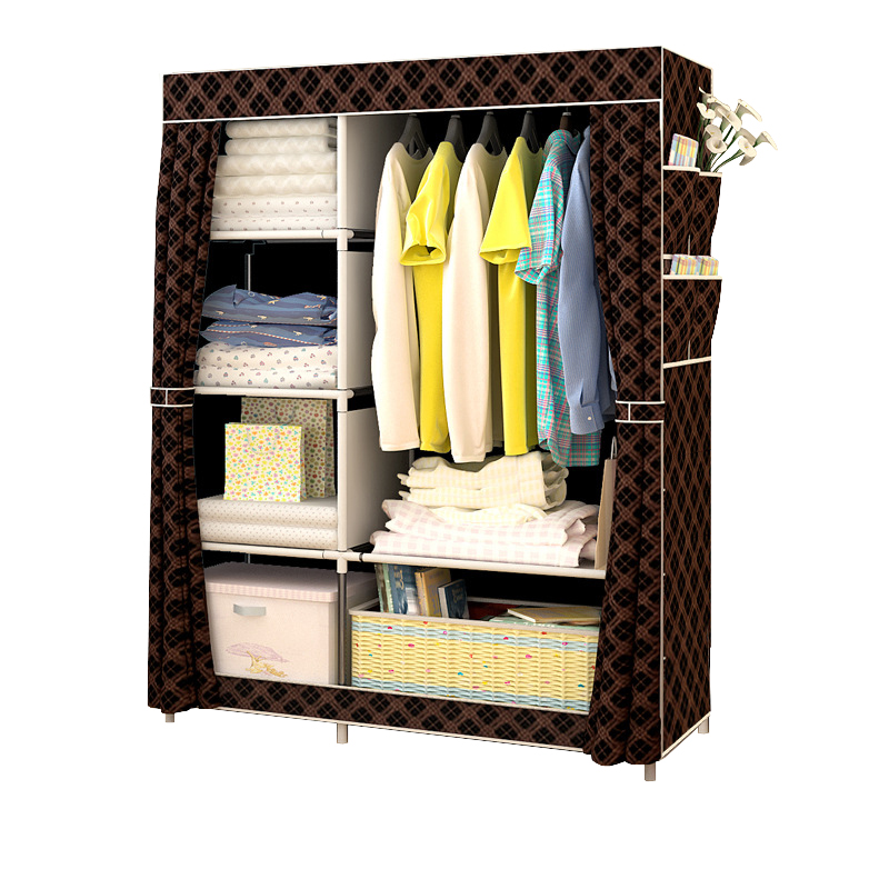 Minimalist Modern Reinforced Large Wardrobe DIY Non Woven Foldable Portable  Clothing Storage Cabinet Dustproof Cloth
