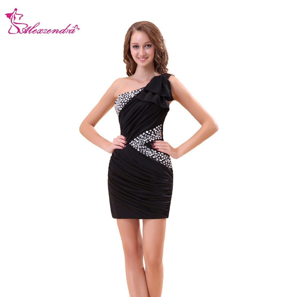 Alexzendra Black One Shoulder Beaded Straight Mini   Prom     Dresses   Simple Party   Dresses   Plus Size