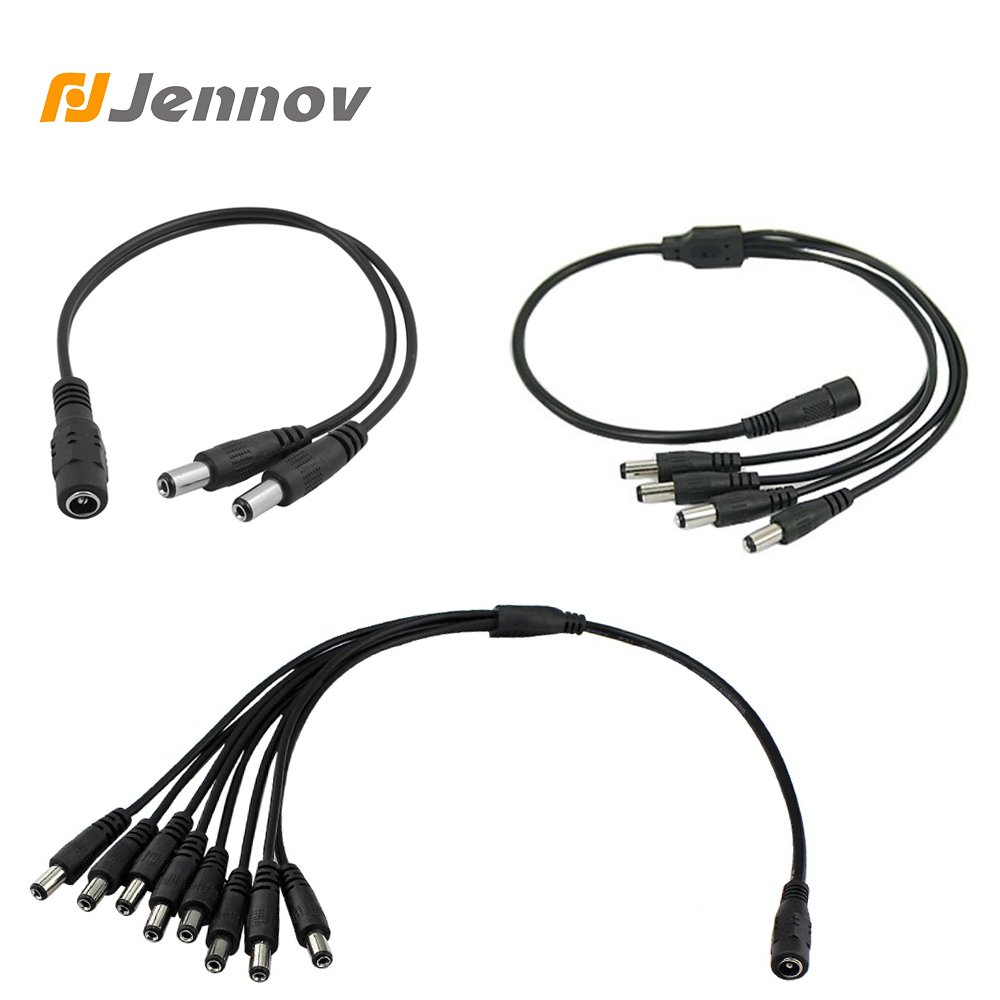 Jennov 1 To 8 Port Max Poe Cable 5.5 X 2.1mm DC Power Pigtail Cable Ip Camera Supply For CCTV Camera Connector Power CCTV Cable