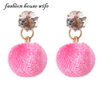 Fashion House Wife Charm Round Fur Ball Drop Earring Fashion Rhinestone Eardrop Earring For Women Jewelry Party Gifts LE0064