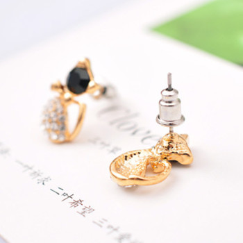 New Fashion Cute Lovely gold Color  Rhinestone Crystal Cat Earrings for Women Kids Crystal Earring Fashion Earrings wholesale 1