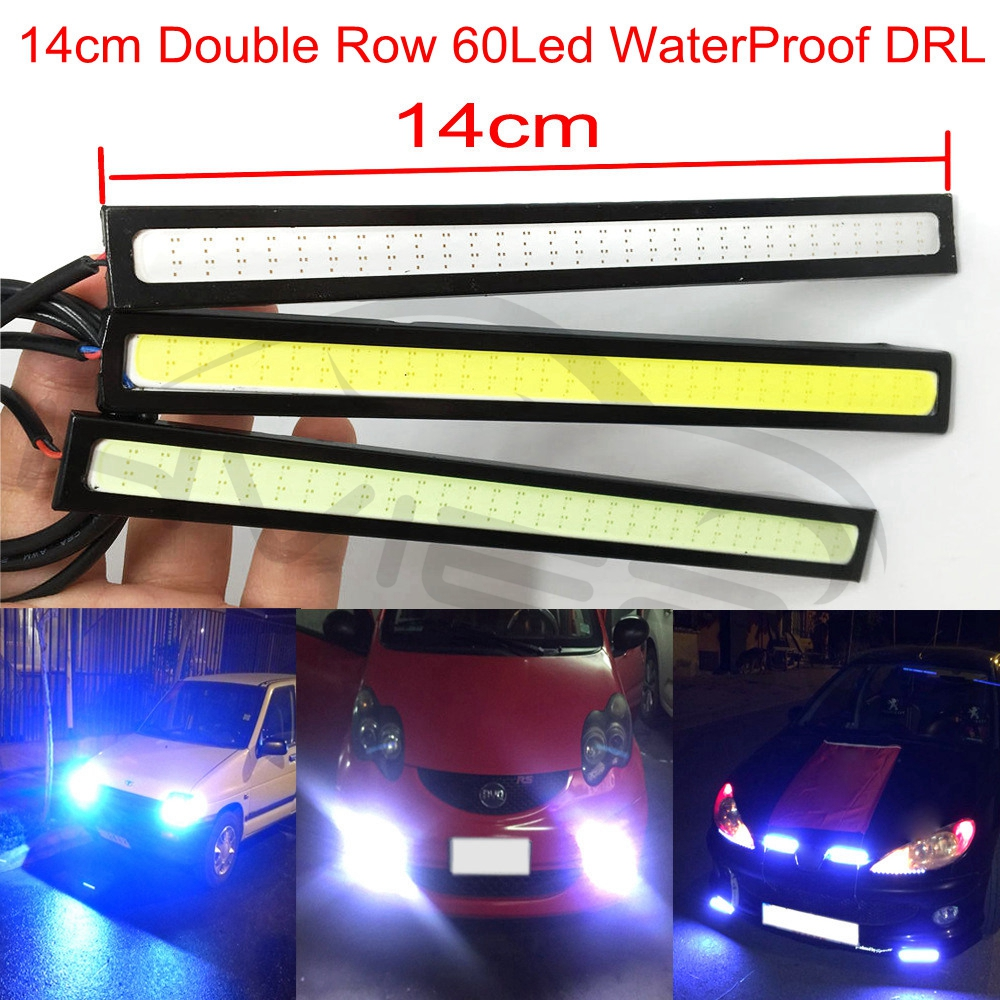 1Pcs 14cm Car LED COB Auto DRL Driving Daytime Running Lamp 60Leds Double Row Bulb Fog Light White Blue Bright Waterproof DC 12V 2pcs universal car daytime running light led cob 12v drl auto driving front fog lamp white bulb waterproof 6000k