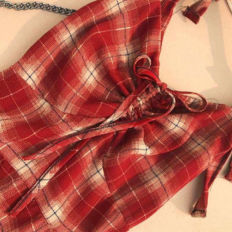 Летнее клетчатое короткое платье для женщин с бантом на шее с v-образным вырезом повседневные сексуальные Клубные вечерние винтажные платья Vestidos Festa популярная уличная бохо