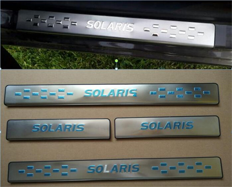Door Sill Plate,scuff Plate Threshold For Hyundai Solaris 2012-2018 HB And Sedan, Stainless Steel,auto Accessories