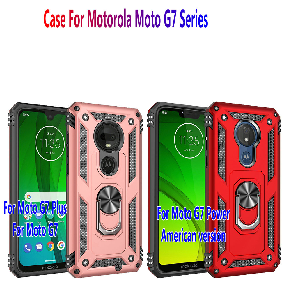 Image 5 - For Motorola Moto G7 Plus Case g7 power Hybrid Silicone PC Rugged Armor cover for moto g7 play Magnetic Ring Holder Phone coque-in Fitted Cases from Cellphones & Telecommunications