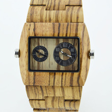 New Arrival Fashion Zebra Wood MIYOTA 2035 Double Movement Quartz Analog Watch For Men's Women Lover Wooden Watch With Gift Box