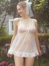 New sexy sleepwear women summer pink fairy cute ultra-thin mesh transparent comfortable nightdress suit