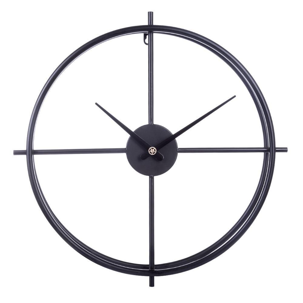 Nouveauté 50 cm européenne rétro Simple fer Art horloge suspendue horloge murale silencieuse pour la maison bureau chambre décor-noir