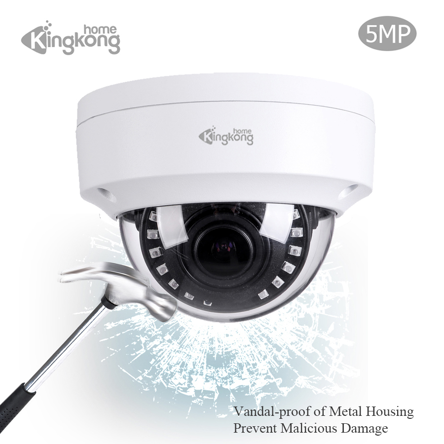 Kingkonghome POE IP Camera 5MP Varifocal Lens CCTV Security Vandal proof Waterproof font b Outdoor b