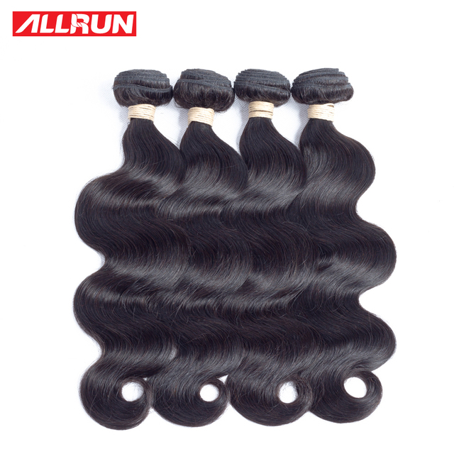 Best Price Allrun Hair Brazilian Body Wave Hair Extensions 100% Human Hair Weave Bundles 3/4 Bundles Deal Natural Color non remy Hair