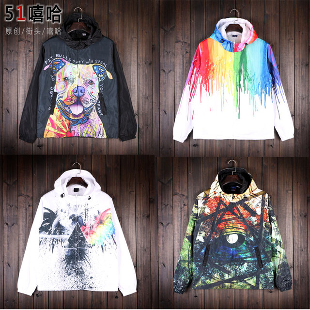 original brand wind moving thin clothes windbreaker Harajuku couples dress coat male and female students in the class