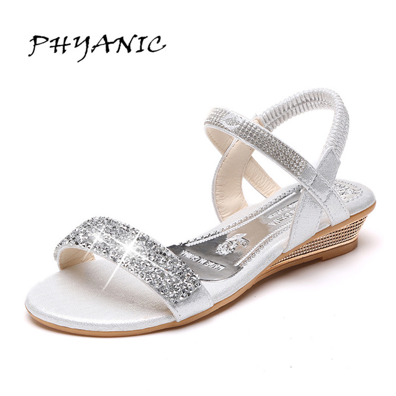 PHYANIC 2017 Women Summer Style Wedges Shoes Woman Wedge Heel Comfortable Sandals Women Sweet Flip Flops PHY5114 phyanic 2017 gladiator sandals gold silver shoes woman summer platform wedges glitters creepers casual women shoes phy3323