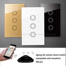 Broadlink RM PRO+RF Contact Wall Swap US  3Gang 433MHZ Wi-fi Swap Common WIFI Sensible House Distant Controller WIFI+IR+RF