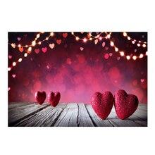 Laeacco деревянная доска сердце любовь в горошек свет боке День Святого Валентина Детские фотографические фоны фото фон фотостудия