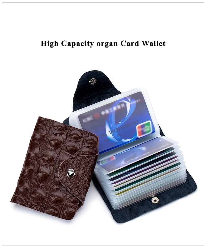 Lomelobo Split Leather Card Holders Men & Women Alligator Pattern Passport bag Credit ID Cards Holder 26 card slots Cards Wallet 2019 HCL400 Details (03)