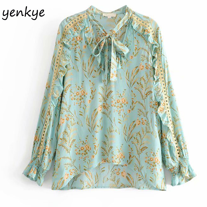 Modis 2019 Women Green Floral Print Boho   Blouse     Shirt   Lady Lace Up V Neck Long Sleeve Casual Summer Tops Plus Size blusa