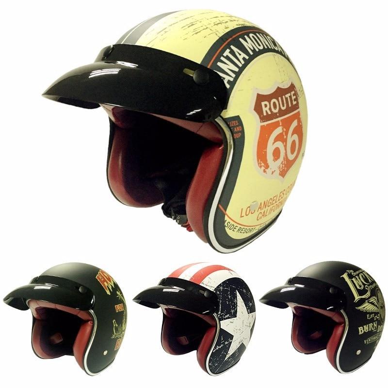 Hot sale T50 Route 66 Motorcycle helmet jet Vintage Open face retro 3/4 half casco moto capacete motociclismo