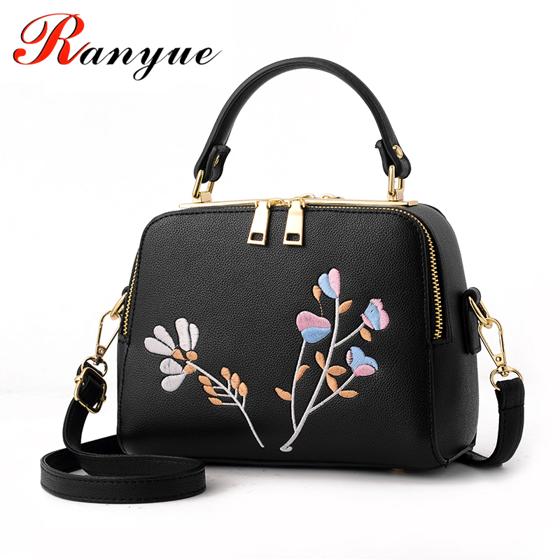 RANYUE 2017 New Fashion Embroidery Bags Women High Quality PU Leather Flower Crossbody Bags For Girls Luxury Handbags Women Bag  new national embroidery bags high quality women fashion shoulder