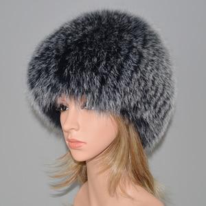 Image 5 - 女性の冬の自然本物のキツネの毛皮の帽子弾性暖かいソフトふわふわ本物のキツネの毛皮キャップ豪華な品質本物のキツネの毛皮爆撃機帽子