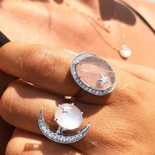 IPARAM 2 Pcs/Set Bohemian Crystal Opal Moon Star Ring Silver Retro Female Joint Large Crystal Stone Geometric Ring Set