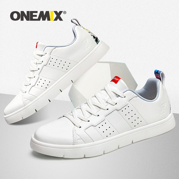 ONEMIX 2019 New Shoes Men Lace Leather Breathable Lightweight White Skateboarding Footwear Women Casual Sneakers Flat Off White original authentic adidas superstar shamrock neutral skateboarding shoes men and women casual sneakers lightweight cozy bb2146