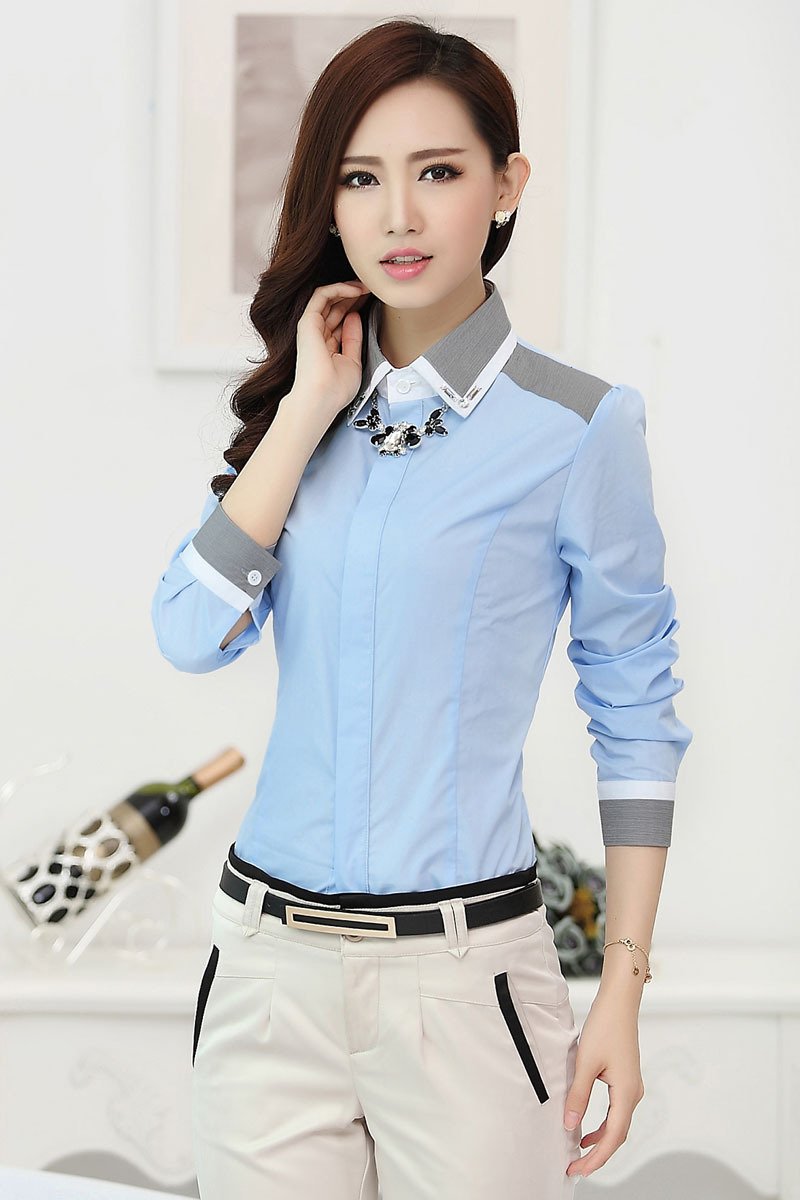 Formal Ladies Gray Shirts Women Blouses OL Fashion Ladies ...