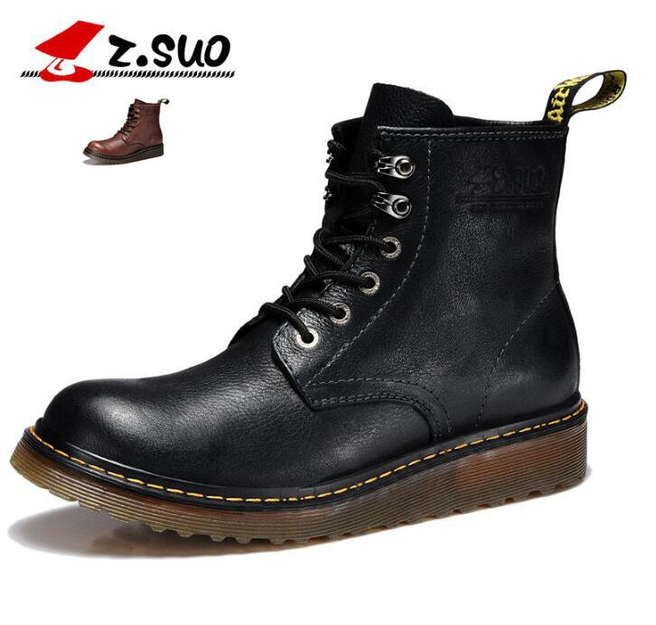 ФОТО Men Spring Autumn Full Grain Leather Breathable Flat Martin Boots Shoes Genuine Leather Fashion Casual Antiskid 2016 New Shoes