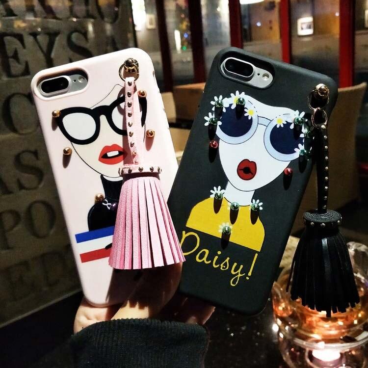 Модные Западной грил чехол для iPhone 6 plus caus Силиконовые ТПУ характеристика Дейзи peecheey чехол для телефона кисточкой кулон (XX12)
