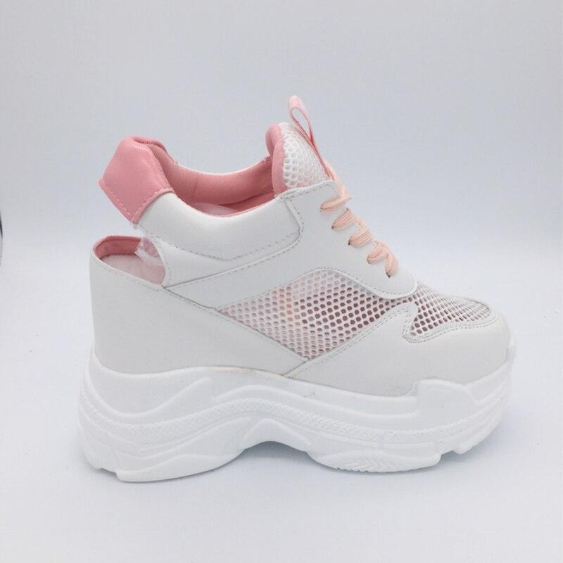 2019 di Estate Della Piattaforma Tacchi Alti Scarpe Da Ginnastica Delle Donne di 11 CENTIMETRI Cunei di Spessore Inferiore Casual Scarpe Sportive Confortevole Bianco Lace-up sandali