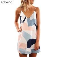 Kobeinc 여름 드레스 스트랩 쉬폰 비치 드레스 여성 캐주얼 V 넥 민소매 Vestido 인쇄 디자인 슬링 미니 드레