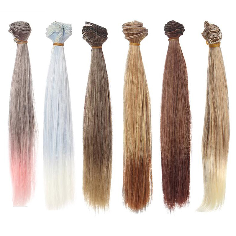 12PCS LOT Wholesale Handmade Synthetic Doll Hair BJD Wig 1 4 Straight Wigs For Dolls