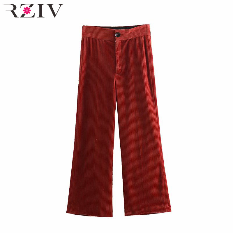 RZIV 2019 spring female casual solid color corduroy   pants     wide     leg     pants