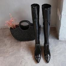Fashion Women Over Knee Boots Black Pointed Toe Med Heel Shoes Rivets Studded Patent Leather Knight S1