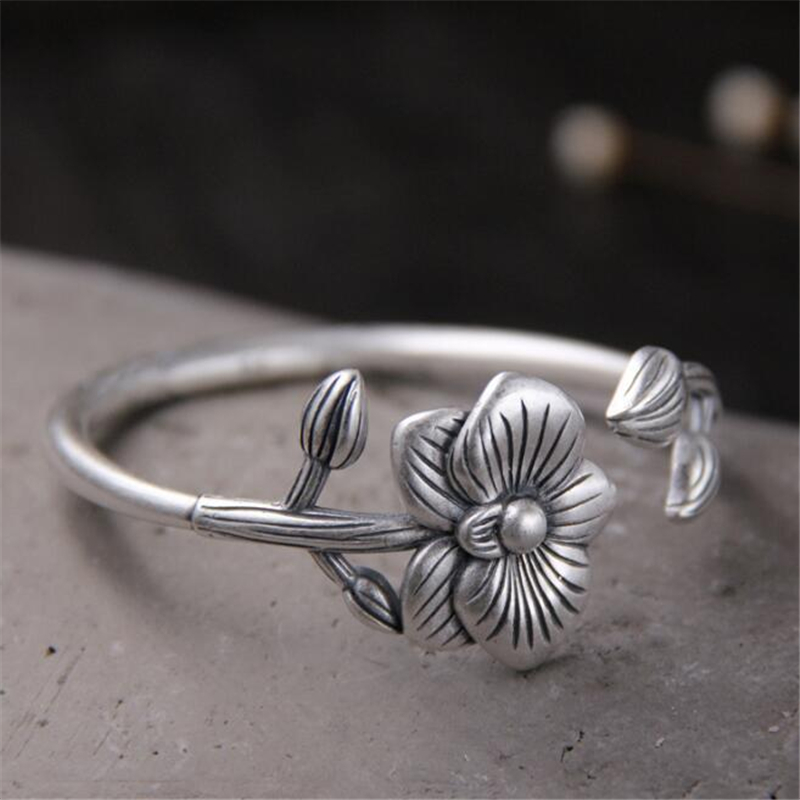 Fine Jewelry 100% Real 999 Sterling Silver Bracelets Women Antique Silver Flower Shape Adjustable Open Bangle Bracelets 30mm Wide 40.60g Suitable For Men And Women Of All Ages In All Seasons