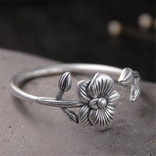 100% Real 999 Sterling Silver Bracelets Women Antique Flower Shape Adjustable Open Bangle 30mm Wide 40.60g