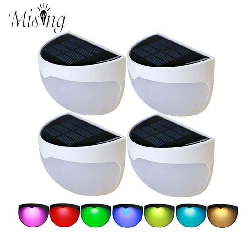 Mising 1.2V IP55 Waterproof 5050 Colorful LED Solar Light Motion Sensor Built In Rechargeable Battery Outdoor Garden Wall Lamp