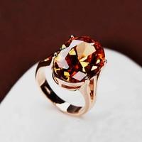 Brilliant Amazing Super Big Champagne CZ Diamond Ring Large Oval Orange Crystal Ring 18K Gold Plated