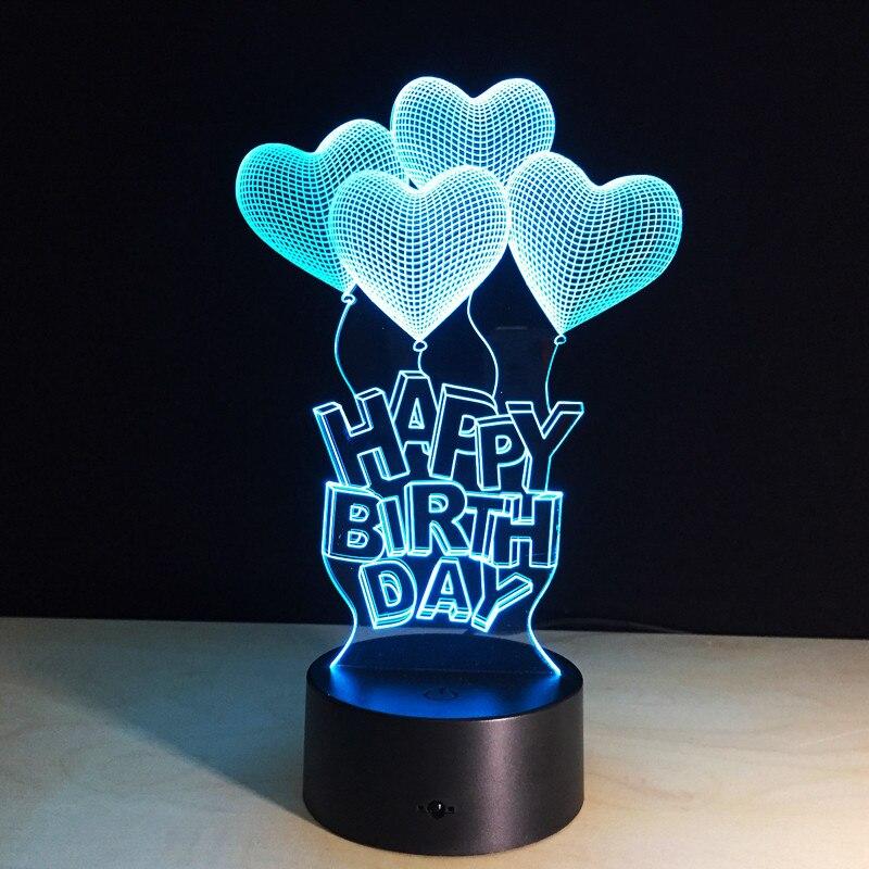 3D Светодиодная лампа, подарок на день рождения, любовь, шары, настольная лампа, акриловая ночная лампа с 7 видов цветов, сменный дистанционны...