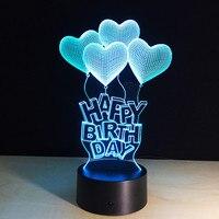 3d 램프 led 생일 축하 선물 사랑 풍선 테이블 빛 아크릴 밤 램프 7 색 변경 원격 터치 스위치 키즈 라이트
