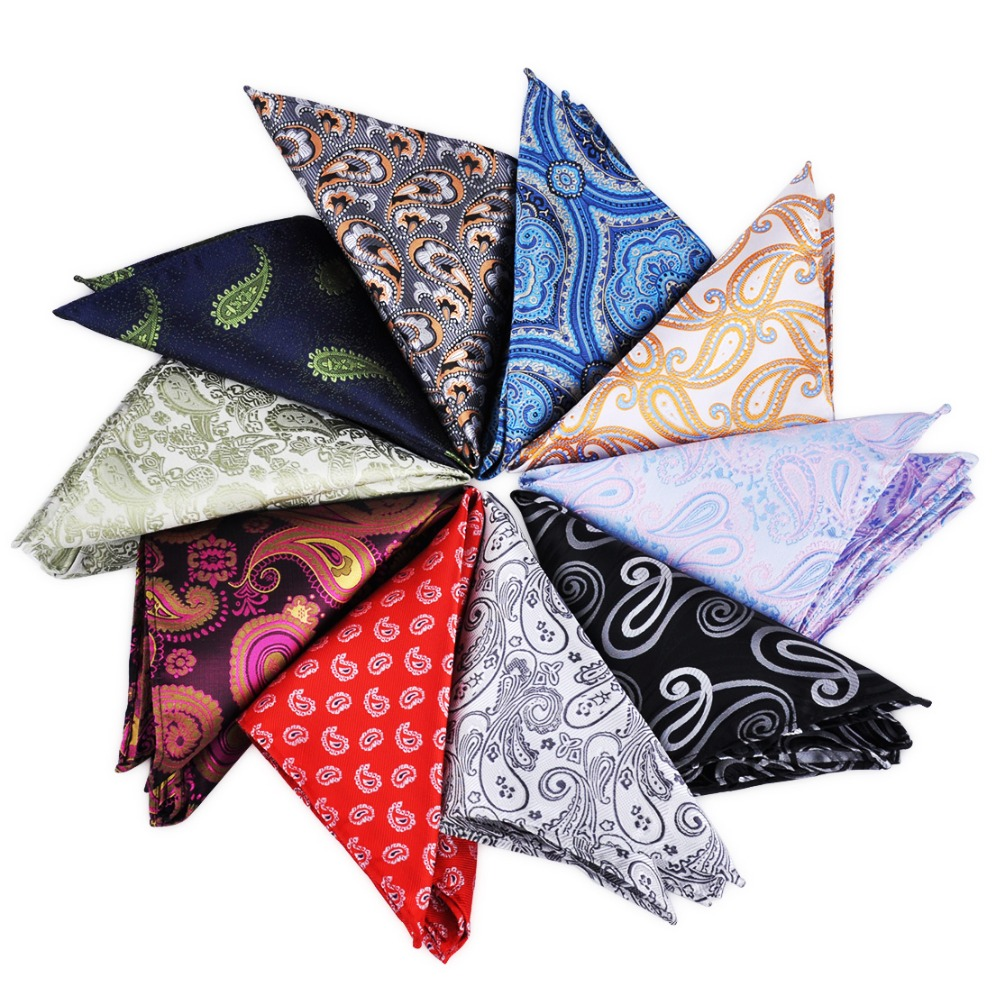ciciTree New Fashion 10pcs/set Men's Multi-style Paisley Pocket Square Men Silk Polyester Jacquard Handkerchief Business Wedding